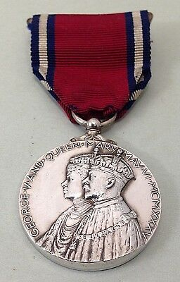 Antique George.V. and Queen Mary Coronation Medal With Ribbon-1910-1935