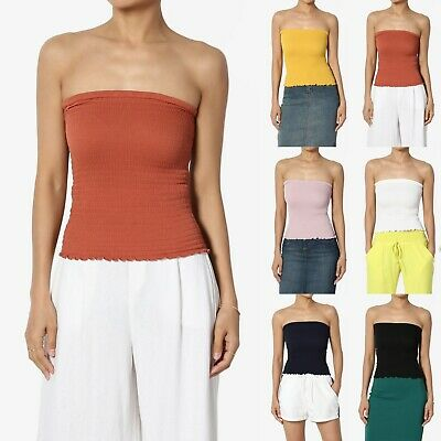 1aac517edc TheMogan Strapless Shelf Bra Stretch Cotton-Jersey Bandeau Top Cropped Tube  Tee