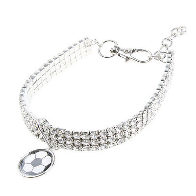Collier pour Chat Chaton Chiot avec Football Colliers Strass Animal