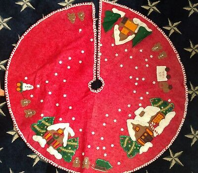 Vintage Christmas Handmade Felt Tree Skirt Not Completed  You can customize