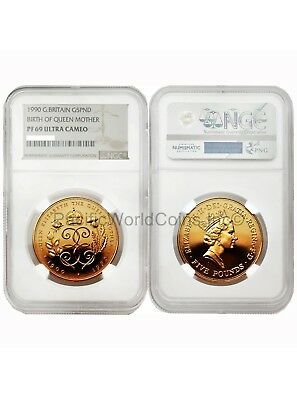 Great Britain 1990 The Queen Elizabeth 90th 5 Pounds Gold NGC PF69 UC  SKU#4678