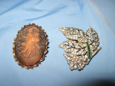 Vintage Antique Jewelry Lot Of 2 Cameo & Rhinestone Pins Gems Scarf/shoe  Clips