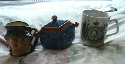3 PIECES OF POTTERY CHEAP JOB LOT include TOBY JUG