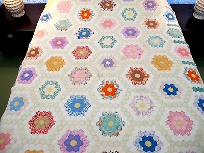 """SMALL, Heavy Vintage OLD Feed Sack Hand Sewn FLOWER GARDEN Quilt, 85"""" x 65"""""""