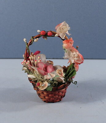 Miniature Red Basket Millinery Flowers Germany Christmas Ornament Feather Tree