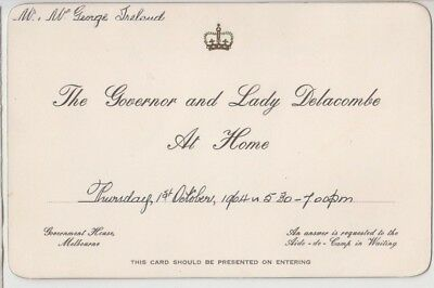 1964 Invitation by The Governor & Lady Delacombe Government House Melbourne