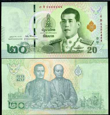 Thailand 20 Baht Nd 2018 P New King Rama X Nice Number 5454444 Unc