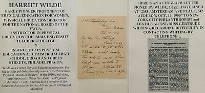 1906 Ywca Pioneer Women's Physical Education Columbia Teacher Letter Signed Als!