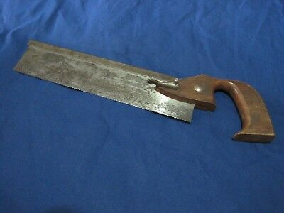 """Vintage 10"""" Miter Hand Saw with removable blade and open handle"""