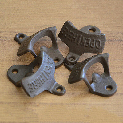 Open Here Cast Iron Cool Wall Mount Bottle Opener Western Rustic Brown GY