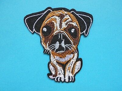 Cute Pug Dog Embroidered Patch Applique Iron Sew On Patch Embroidery Fawn Puppy