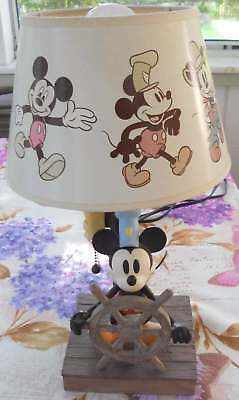 """Mickey Mouse """"Steamboat Willie"""" Table Lamp Works Great 15"""""""