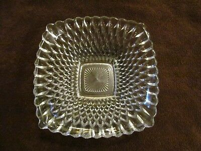 Vintage Pressed Clear  Glass Square Bowl   6 1/2'