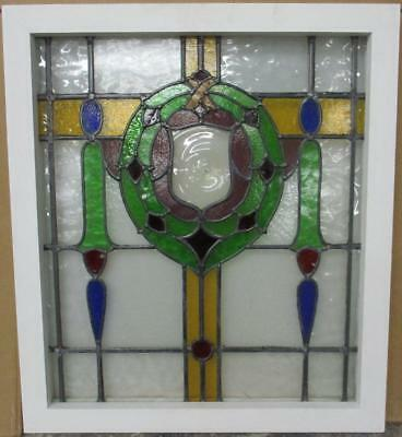 "MID SIZED OLD ENGLISH LEADED STAINED GLASS WINDOW Stunning Wreath 22"" x 25"""