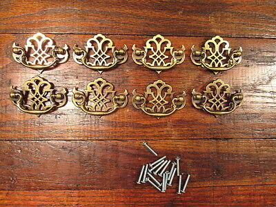 "8 Vintage Brass Chippendale Style Drawer Pulls 2 1/2"" Center To Center NOS"