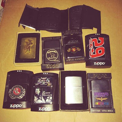 Zippo Lighters Lot Of 10  NEW 8 NASCAR,1 CAMEL AND 1 PLAIN BRUSHED