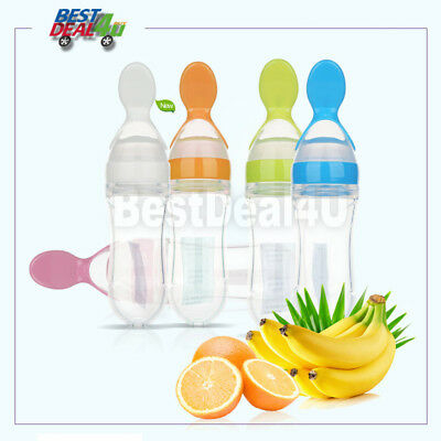 Baby Silicone Squeezing Feeding Spoon Safe Food Supplement Feeder