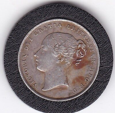 1839  Early   Queen  Victoria  Sterling  Silver  Shilling  British Coin