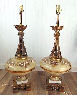 """Pair of Vintage Hand painted Glass table lamps 30"""" tall Hollywood Regency"""