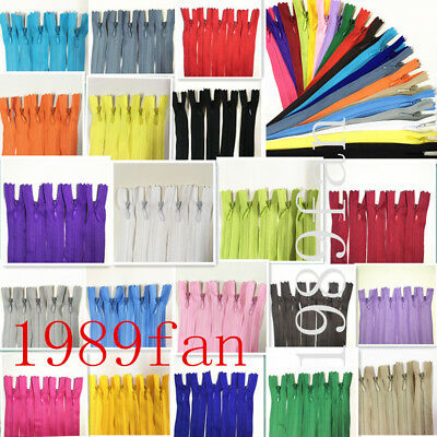 12-20inch invisible nylon coil zipper for bulk sewing process 10pcs (20 color)