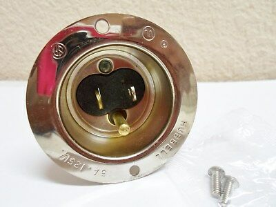 Hubbell 15A 125V Straight Blade Flanged Inlet