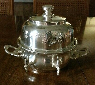 Antique Victorian Round Covered Silverplate Lexington Butter Dish