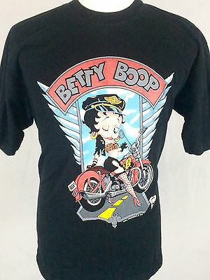 Vintage Betty Boop Motorcycle T-Shirt XL Black 1995 Collectible Cartoon Biker