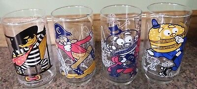 1977 McDonald's McDonaldland Action Series Glasses Set of 4 Different Glasses
