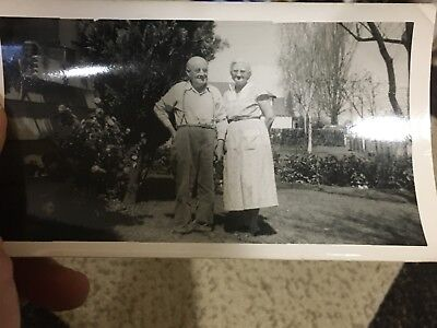 Vintage Kodak Velox Snapshot Photograph Portland Oregon 1954 Old Couple B&W