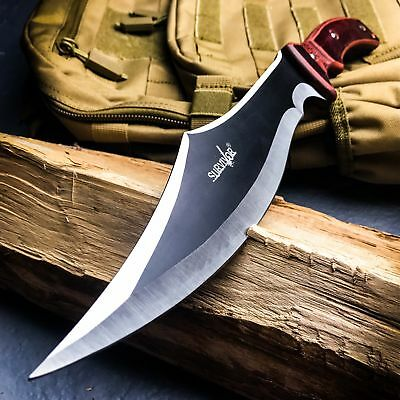 """15"""" SURVIVAL HUNTING Tactical Full Tang FIXED BLADE MACHETE Knife Wood Sword"""