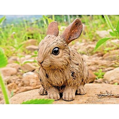 Rabbit Bunny Resting Resin Garden Statue Carved Driftwood Look New Free Ship