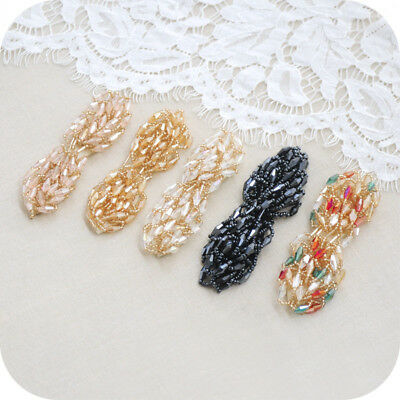 1pc Glass Beads Leaf Shape Hair Shoes Headdress Accessories DIY 3.54*0.98inches
