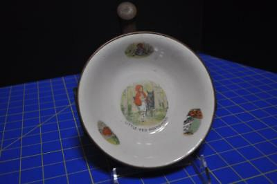 1900 Era Ceramic and Copper Red Riding Hood Baby's Warming Dish