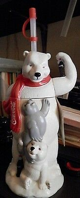 Big Sipper Coca-Cola Coke Polar Bear Seal Plastic Water Drink Bottle Straw New