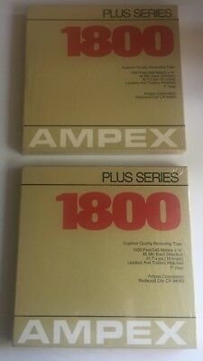 """Lot Of 2 NEW AMPEX Plus Series 1800 7"""" Recording Reel to Reel Music Tape SEALED"""