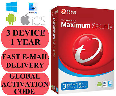 Trend Micro Maximum Security 3 DEVICE 1 YEAR GLOBAL CODE 2019 E-MAIL ONLY NO CD