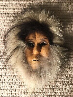 handcrafted leather fur native american (eskimo?) Face mask Decoration