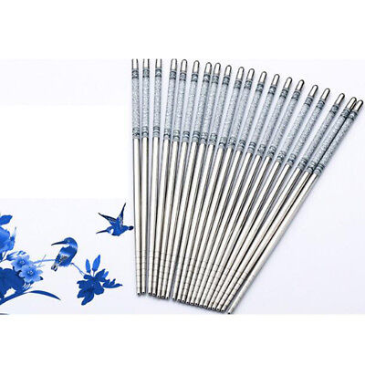 Durable Food Stick Chinese Traditional Flower Pattern Stainless Steel Chopsticks