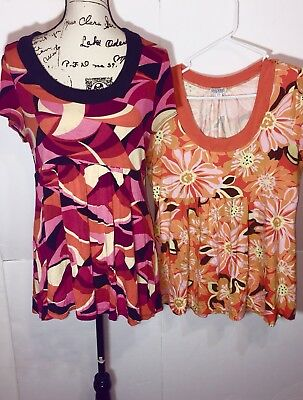 One West Blouse Lot of 2 Womens Size XL Extra Large Multi-Color Short-Sleeve