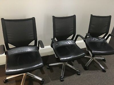 5 Designer Modus Wilkhahn Leather and Mesh Office Chairs