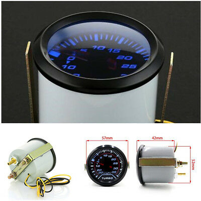 52mm 2″ Blue LED Turbo Boost Press Pressure Vacuum Gauge Meter PSI Smoke Face