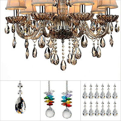 Colorful Clear Teardrop Crystal Chandelier Pendant Lamp Bedroom Wedding Decor