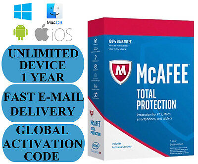 McAfee Total Protection UNLIMITED DEVICE 1 YEAR GLOBAL KEY 2019 EMAIL ONLY NO CD