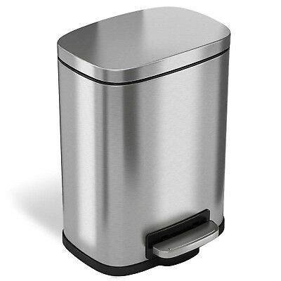 iTouchless Softstep 1.32 Gallon Stainless Steel Step Trash Can, 5 Liter P... New