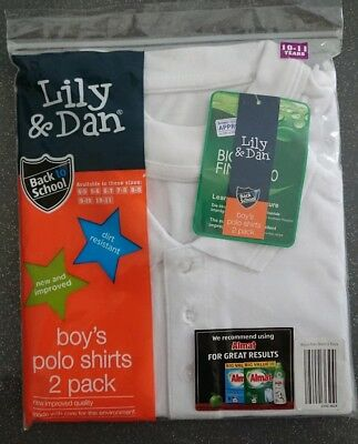 Boys White Polo Shirts Age 10-11 Years 2 Pack Bundle