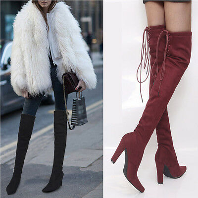 Women's Thigh High Heel Over The Knee Lace Up Stretchy Boots Shoes Plain Winter