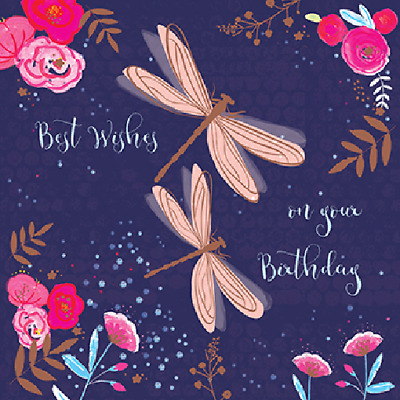 Dragonflies Best Wishes Birthday Greeting Card For Royal Trinity Hospice Charity