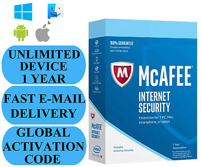 McAfee Internet Security UNLIMITED DEVICE 1 YEAR GLOBAL KEY 2020 EMAIL ONLY