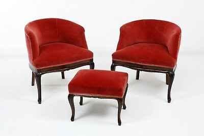 Antique Pair of Armchairs and Footstool 1940 - Walnut  - Professional Renovation
