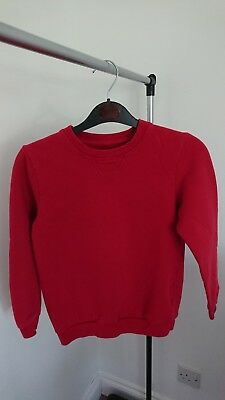 Boys Red School Jumper Age 10-11 Years 100% cotton
